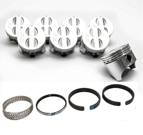 Sealed Power Cast Flat Top Pistons and Matching Cast rings set compatible with 1967-85 Chevrolet Chevy SBC 350 5.7L (.040