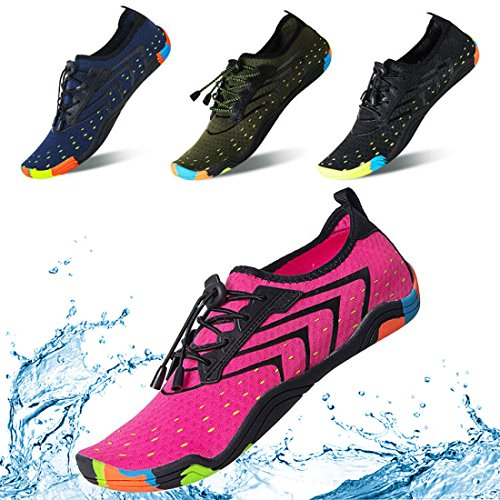KRIMUS Men Women Water Sports Shoes Quick Dry Barefoot Aqua Socks Swim Shoes for Pool Beach Walking Running (Rose Red-38)