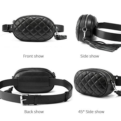 de para pequeño cintura borla bolsa las Bolso diamante de múltiples patrón Negro funciones Fanny de con cinturón ajustable la mujeres bolsa Bumbag … moda Pack de viaje wqxnHnC