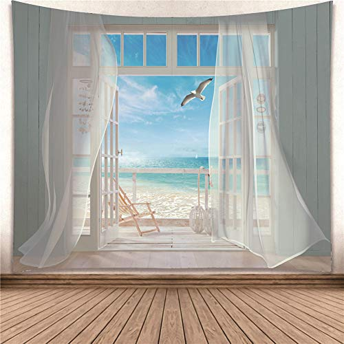 Wall Art Hanging Tapestry Seagull and Screen Window Huge Size W80XH60 inch