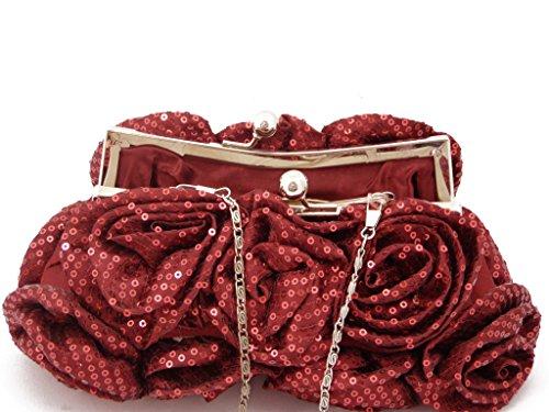 Pochette iN raso e paillettes COLORE rosso scuro, chiusura a scatto, con tracolla catena-B1288