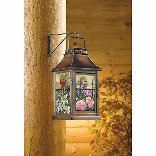 Songbird Dance Outdoor Glass Hanging Candle Lantern by Wild Wings