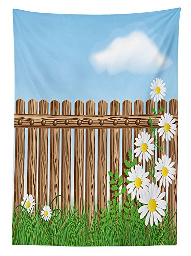 farm-house-decor-tablecloth-cartoon-style-featured-jardin-fence-with-daisy-fern-foliage-under-fluffy