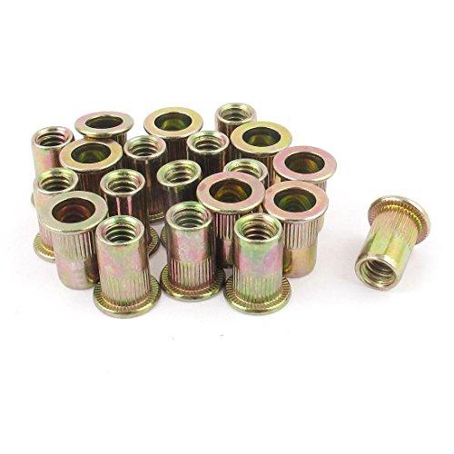 uxcell 20Pcs Steel Rivet Nut Flat Head Insert Nutsert 1/4-20