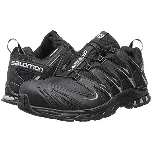 Salomon Men's XA PRO 3D CS WP Shoe - Black/Black/Pewter (13) with FREE 50 Lumen Headlamp