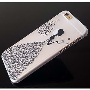 IPhone 5/5S-Carcasa rígida transparente para vestido de diamante, color negro