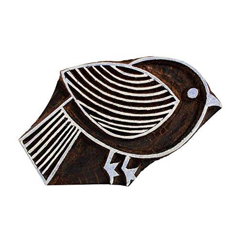 Bird Motif Wooden Printing Block Textile Blocks Scrapbook Henna Handmade Print Stamps by CraftyArt