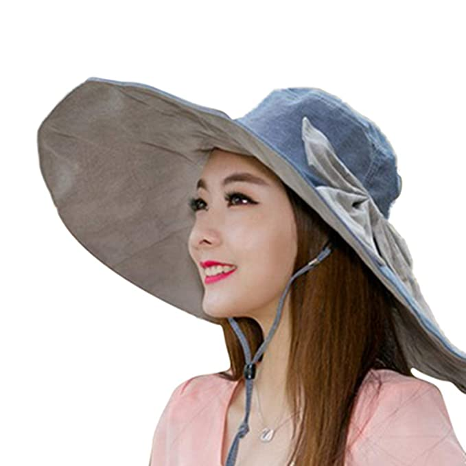 944521604 Sombreros de Verano para Mujeres, ala Ancha Grande para Mujeres con Bowknot  Viaje en la Playa Sombreros del Sol: Amazon.es: Ropa y accesorios