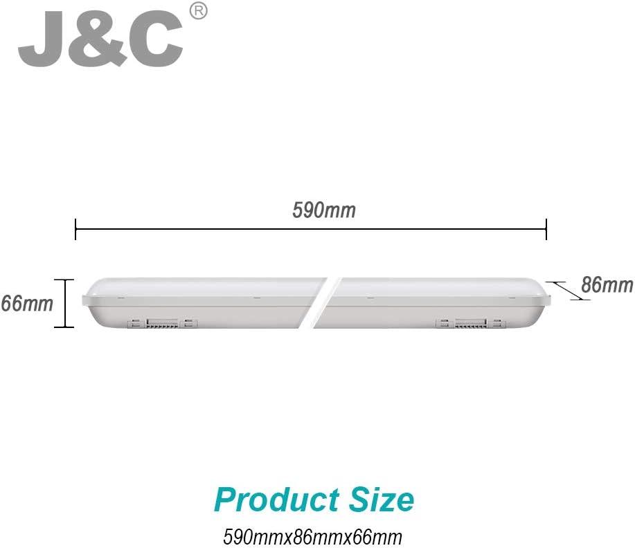 Ateliers Garages Sous-Sols Entrep/ôts J/&C LED Tube R/ésistant /à lHumidit/é Tube 36W 120Cm 3000lm Ip65 Imperm/éable Blanc Neutre Pour Halls Industriels De Bureau