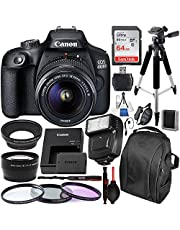 $359 » Canon EOS 4000D/Rebel T100 DSLR Camera with 18-55mm III Lens and Essential Accessory Bundle – Includes SanDisk Ultra 64GB SDXC Memory Card & Digital Slave Flash & 3PC Multi-Coated Filter Set & More