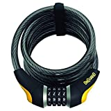 ONGUARD Doberman Resettable Combo Coil Cable Lock (Black, 185 cm x 12 mm)
