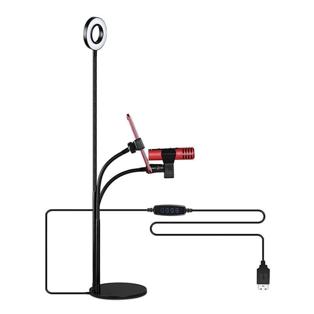 Selfie Ring Light with Lazy Bracket and Microphone Holder for Live Stream, Multi-mode Brightness LED Selfie Ring Light