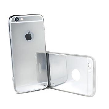 Carcasa gel TPU Funda [IPhone 7] efecto espejo silicona transparente - COLOR PLATA
