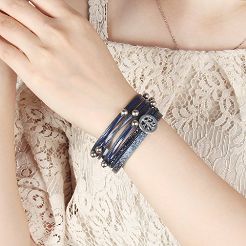 TASBERN Tree of Life Leather Cuff Bracelets Multilayer Rhinestones Stud Beads Rope Wrap Bracelet Wristband for Women Girls Gift(navy) by TASBERN (Image #5)