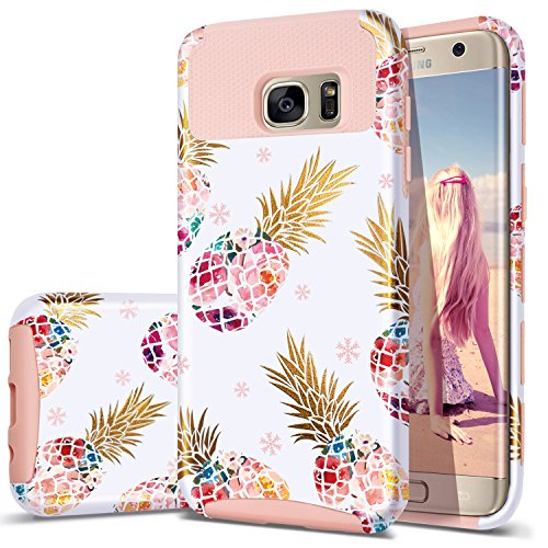 S7 Edge Case,Pineapple Samsung S7 Edge,Fingic Cute Pineapple Design Case 2 in 1 Hybrid Case Hard PC&Soft Silicone Raised Edge Shock Absorption Protective Cover for Samsung Galaxy S7 Edge,PINK