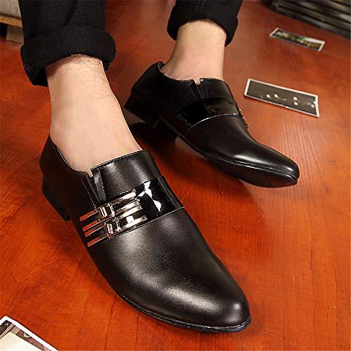 Nero Color pelle in moda 42 Dimensione con EU metallo bottoni morbida da logo metallo Scarpe Oxford lavoro in con in casual T4axE8qw