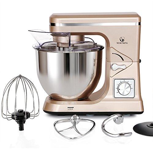 MURENKING Stand Mixer MK36 500W 5-Qt 6-Speed Tilt-Head Kitchen Food Mixer with Accessories (Champagne
