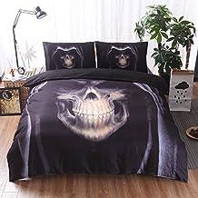 Meeting Story Modern Skull Print 3Pcs Duvet Cover Bedding Sets (Queen, Cool Skull)
