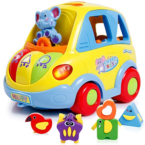 SGILE Auto-Sensing Happy Elephant Educational Musical Car Toy with Transforming Animal Block Shapes and Various Sounds and Omni-directional (Toy Cars Halloween)