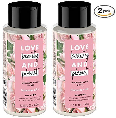 Love Beauty and Planet Blooming Color Murumuru Butter & Rose Sulfate Free Shampoo for Color Treated Hair, 13.5 oz - Pack of 2 (Nature Rose Shampoo)