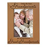 Only the Best Grandparents get promoted to Great Grandparents Engraved Natural Wood Picture Frame, Grandma Grandpa Gifts, Grandparents Day Gifts, Mother's Day, Father's Day (5' x 7' Vertical)