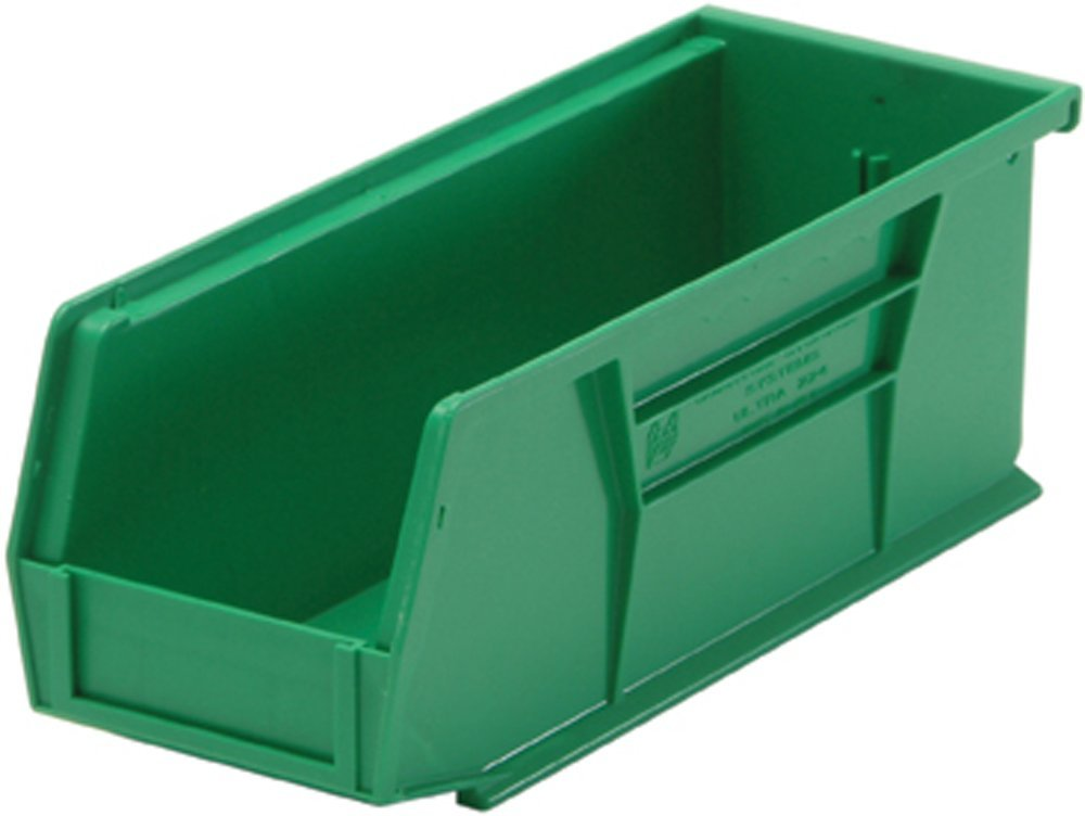 Quantum Storage Systems Hang/Stack Bin, 10-7/8L X 4-1/8W, Green by Quantum Storage Systems