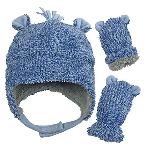 N'Ice Caps Little Boys and Baby Sherpa Lined Fleece Hat Mitten Set with Ears (Royal Blue Fuzzy Infant, 6-15 Months)