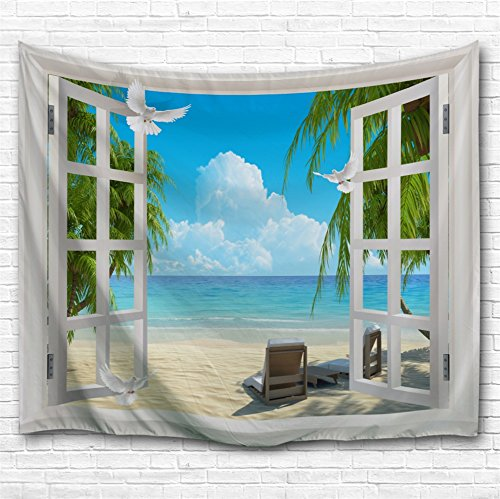 Ocean Decor KOLOKUTTA Seagulls Animal Palm Tree Blue Ocean Sand Beach Starfish Seaside Scenery View from The Open Window Nautical Themed Wall Tapestry (Seagulls Birds Fly Sand Beach, 80 X 60 Inches)