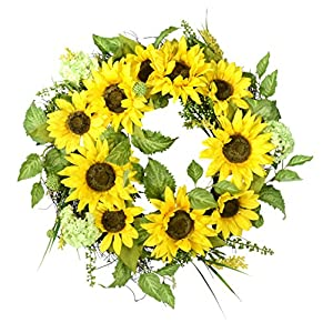 22 Inch Sunflower Wreath With Hydrangea, Fern and Spring Flowers on a Natural Twig Base, Artificial Floral and Leaves 97