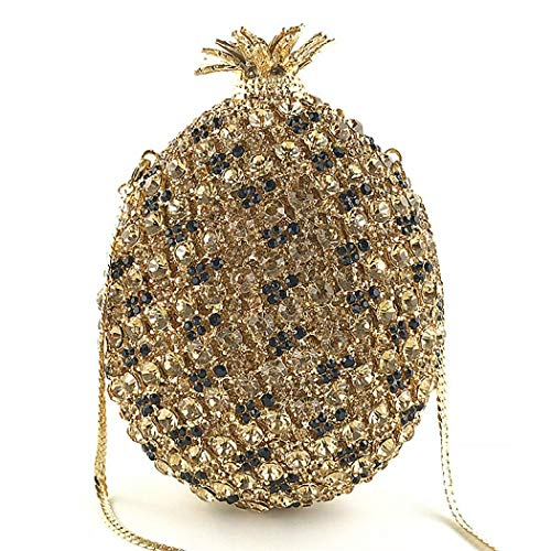 Evening Handbags Rhinestone Hanging Black Purses Strap with Womens Pineapple Clutch Glitter Bag wIFARqwX