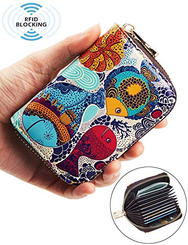 Purse Wallet Accordion (ANBENEED Genuine Leather RFID Blocking Credit Card Holder Organizer Wallets Small Zipper Clutch Accordion Wallets Credit Card Case Coin Purse For Women(Three Fish))