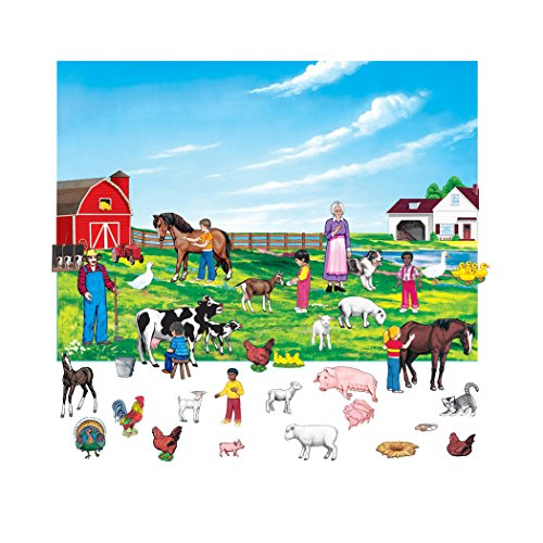 Little Folks Visuals LFV22382 Farm Set Figures with Unmounted Background Flannel Boards, 6