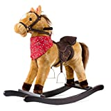 51oqtM f%2BUL. SL160  Cowboy Boys Rocking Horse   Tan Brown