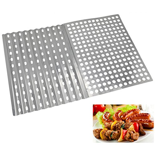 Justdolife Grill Mesh BBQ Mesh Portable Foldable Stainless Steel Cooking Mat BBQ Supplies for Outdoor Picnic Camping