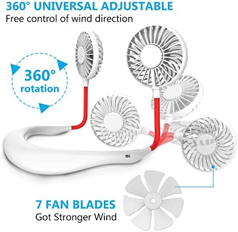 Hand Free Mini USB Personal Fan – Rechargeable Portable Headphone Design Wearable Neckband Fan,3 Level Air Flow,7 LED Lights,360 Degree Free Rotation Perfect for Sports, Office and Outdoor (white) 51oqtfAzO9L