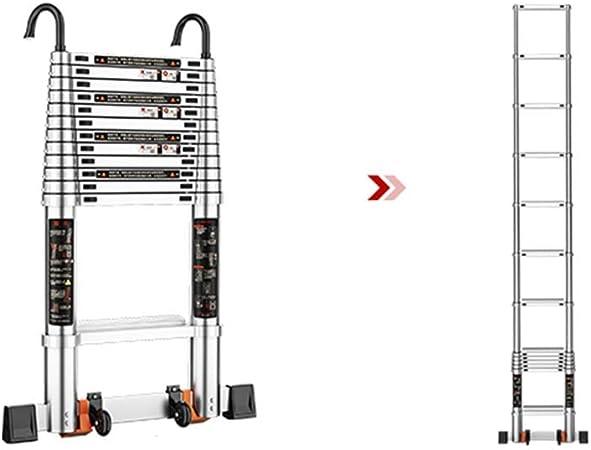 XSJZ Escalera Telescópica Plegable, Escalera Recta Telescópica Portátil con Polea Móvil Aleación de Aluminio Elevación de La Escalera Ascendente Escaleras de Escalada Seguras Escalera Plegable: Amazon.es: Hogar