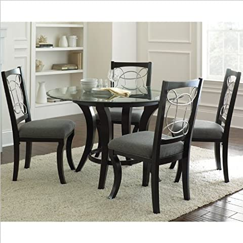 Steve Silver Company Cayman 5 Piece Round Dining Table Set in Black - 48 Round Pedestal Dining Table