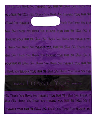 12x15 Purple Thank You Die Cut Handle Plastic Bags 50/cs - Bags Direct Brand by Bags Direct