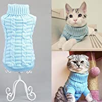 Turtleneck Pet Cats Sweater Aran Pullover Knitted Doggie Kitty Clothes Solid Colors for Kitten Chihuahua Pug