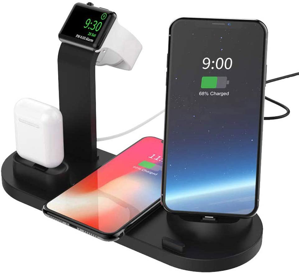 Charging Station for Multiple, Qi Certified Fast Wireless Charger for Apple Products Phone Watch AirPods TV Remote Stand iPhone Dock for 11/11Pro/11Pro Max/X/XS/XR/8/8 Plus Samsung (Black)