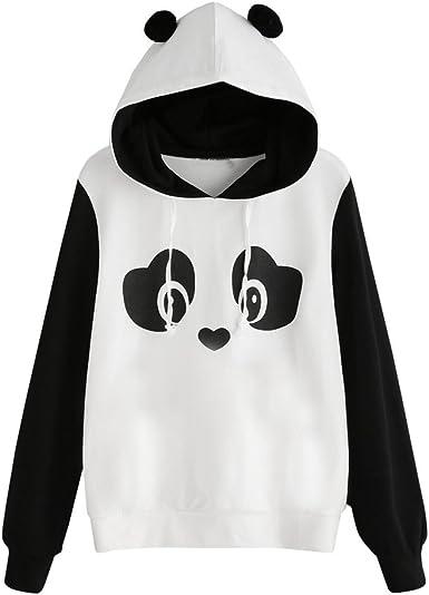 Fashion Womens Autumn Panda Pocket Hoodie Sweatshirt Hooded Pullover Tops Jumper