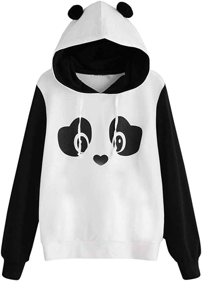 Vjgoal Femme Sweat A Capuche Mignon Panda Imprimer Longues