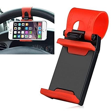 Vrunda Fashion Car Steering Wheel Mobile Holder for All Cars and Mobiles  Black