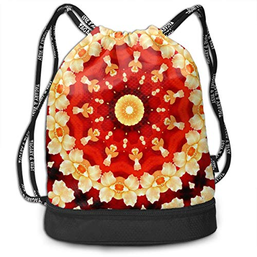 Berasd Abstract Art Background Orchid Kaleidoscope Multifunctional Beam Drawstring Backpack Unisex Suitable for Outdoor Travel
