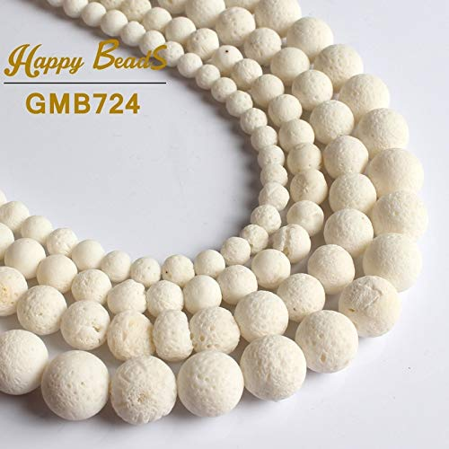 Pukido Natural White Sponge Coral Beads Round Loose Spacer Bead 15''Strand 6/8/10/12 mm for Jewelry Making DIY Bracelets Jewellery - (Item Diameter: 10mm 36pcs - Coral White Natural Sponge