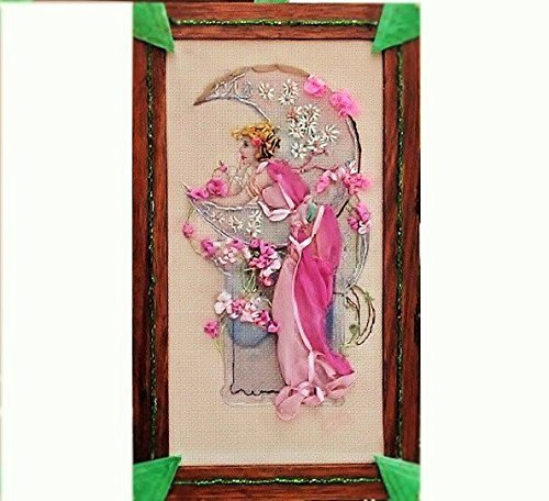 SALE Art Nouveau Post Card Copied onto Fabric Embellished with Ribbons & Embroidery into A Stained Beaded Frame. by EMENOW