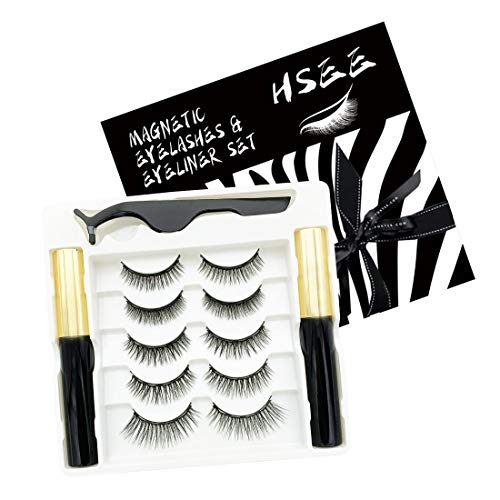 HSEE Updated 3D Magnetic Eyelashes with Eyeliner Kit – 2 Tubes of Waterproof Magnetic Eyeliner & 5 Pairs Magnetic…