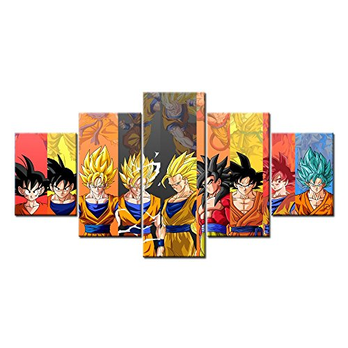 [Son Goku Super Saiyan God SSJ Blue 5 Pieces Wall Arts Modern Prints on Canvas (Unframed)] (Dbz Saiyan Armor Costume)