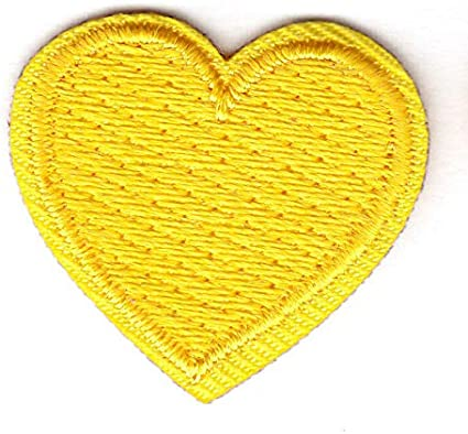 "SET OF 2 YELLOW HEARTS 1/"" Iron On Patch  Heart Miniatures Love"