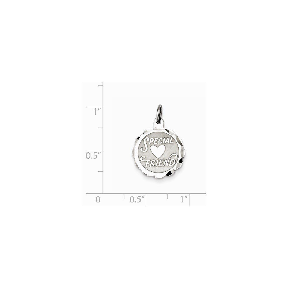 Mireval Sterling Silver Special Friend Disc Charm on a Sterling Silver Chain Necklace 16-20